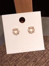Star Rhinestone Pearl Decor Stud Earrings