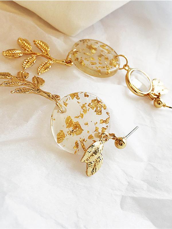 Asymmetrical Leaf Long Gold Earrings Design