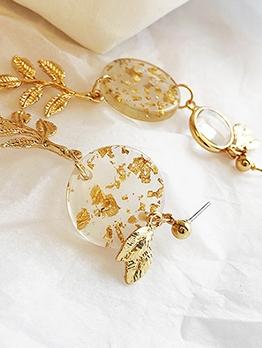 Asymmetrical Leaf Long Golden Earrings Design
