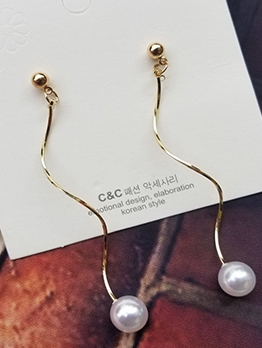 Simple Design Faux Pearl Long Earrings
