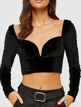 Backless Cropped Velvet Black Blouse