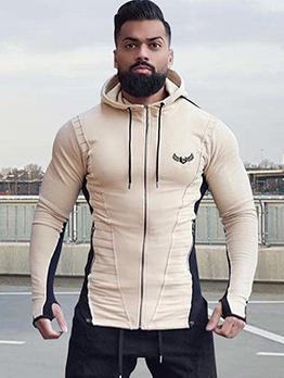 Color Patchwork Zipper Up Hooded Mens Coats