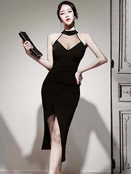 Seductive Tulle Patchwork Asymmetric Hem Midi Dress