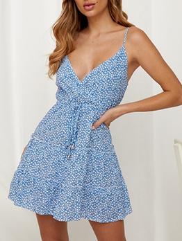 Slip Summer Print v Neck Sleeveless Dress