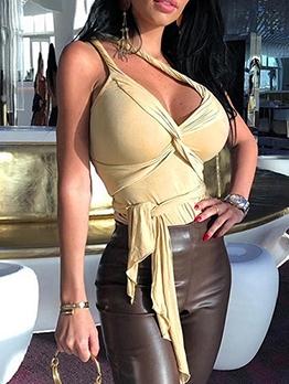Sleeveless One Shoulder Twists Sexy Bodysuit