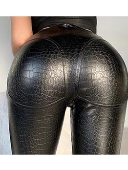 Alligator Embossed Front Zipper Black Leather Pants