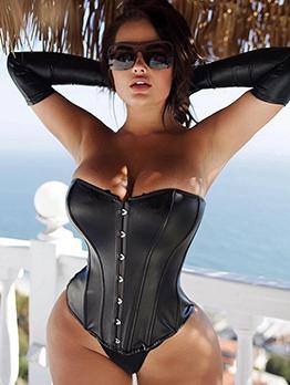 Sexy Black Pu Skinny Strapless Bodysuits