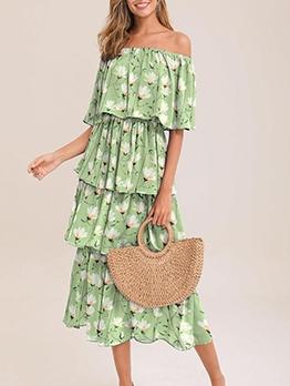Botanic Print Layered Midi Casual Dresses