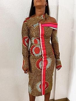 Individual Contrast Color Print Midi Dress
