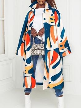 Color Block Single Breasted Women Long Coat