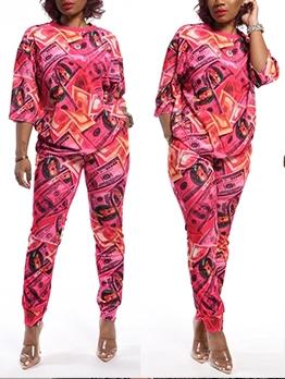 Casual Half Sleeve Printed Two Piece Pants Set
