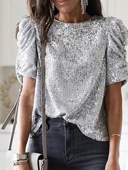 Glitter Sequins Women Short Sleeve T Shirt