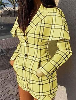 Fashion Lapel Collar Yellow Plaid Long Sleeve Blazer Dress