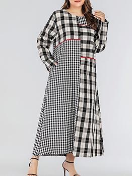 Plaid Patchwork Dual Pockets Plus Size Maxi Dresses
