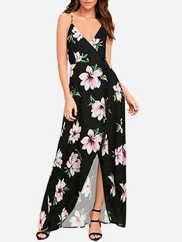 Summer V Neck Split Hem Floral Maxi Sundress