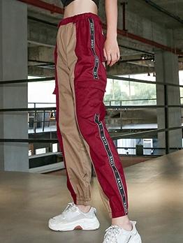 Contrast Color Letter Printed Jogger Pants