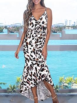 Fashion V Neck Leopard Sleeveless Maxi Dress