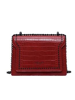 Alligator Print Rivets Square Chain Shoulder Bags