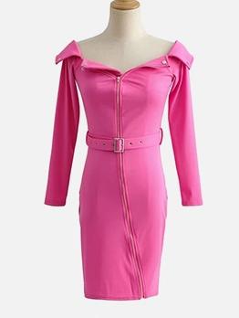 Off Shoulder Zipper Up Solid Long Sleeve Dress