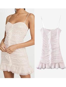 Flounced Hem White Sleeveless Bodycon Dress