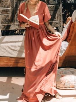 Casual Fringe Patchwork Short Sleeve Maxi Dress