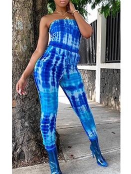 Fashion Printed Skinny Strapless Jumpsuit