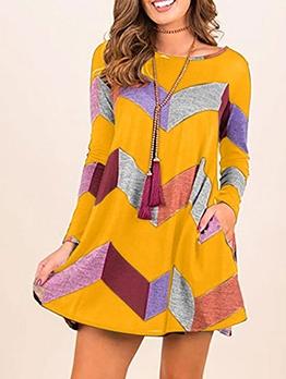 Casual Color Block t Shirt Dress