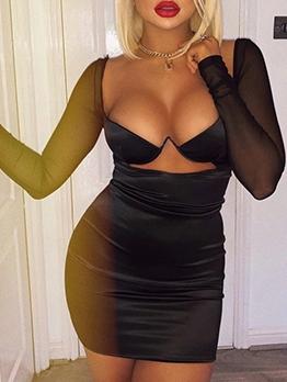 Sexy Gauze Patchwork Push Up Black Dress