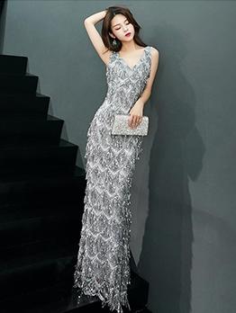 Elegant Fishtail Hem Sleeveless Sequin Evening Dress