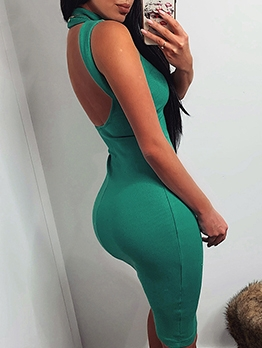 High Neck Backless Solid Sleeveless Bodycon Dress