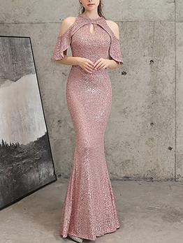Elegant Fishtail Hem Sequin Off Shoulder Evening Dress