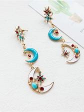 Fashion Crescent Star Long Earrings
