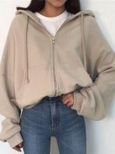Solid Loose Long Sleeve Zip Up Hoodies