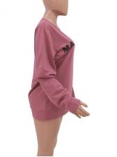 O Neck Letter Printing Pink Sweatshirt