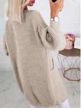 Casual Solid Pocket Knit Long Cardigan