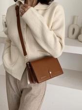 Simple Detachable Belt Solid Crossbody Shoulder Bag