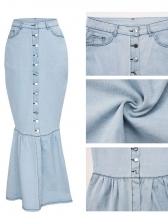 Solid Single Breasted Maxi Denim Mermaid Skirt