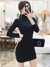 Turtleneck Neck Black Long Sleeve Bodycon Dress