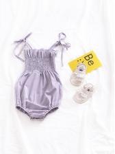 Summer Solid Sleeveless Romper For Baby