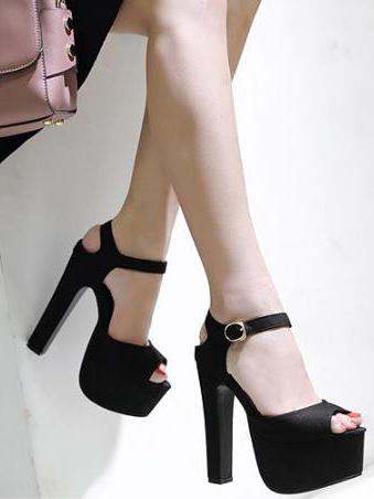 Platform Buckle Strap Peep Black Heels
