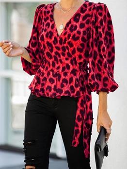 V Neck Long Sleeve Leopard Print Blouse