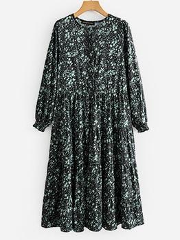 Crew Neck Print Dresses For Women