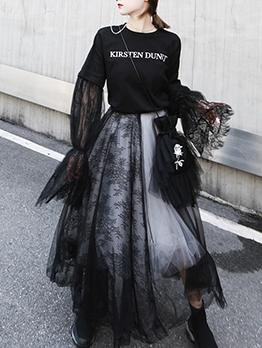 Black Flower Embroidery Mesh Skirt
