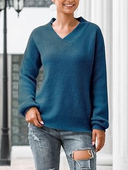 Minimalist Style Solid Cotton V Neck Sweater