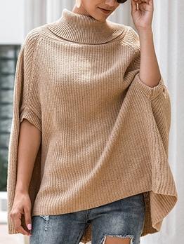 Cloak Design Pure Color Loose Turtleneck Sweater