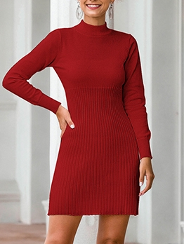 Solid Color Mock Neck Knitting Bodycon Dress