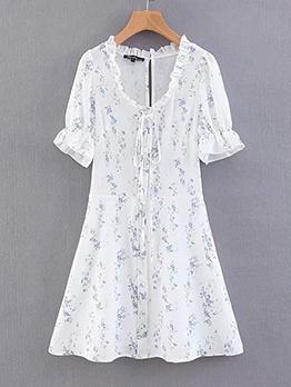 Lavender Print Short Sleeve White Dress For Vacation