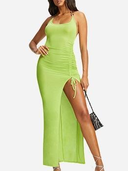 Chain Halter Backless Slit Maxi Dresses