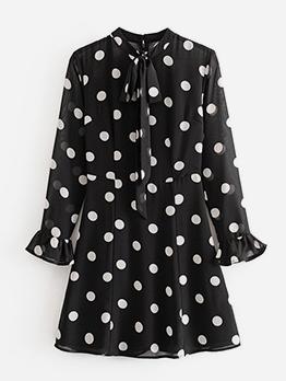 Vintage Stand Neck Flare Sleeve Polka Dots Dress