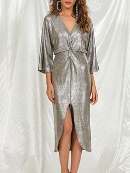 V Neck Slit Hem Women Midi Dress